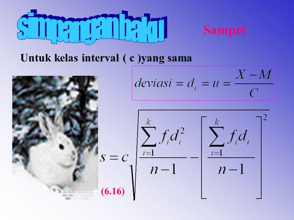 Untuk kelas interval ( c )yang sama Sampel (6.16)