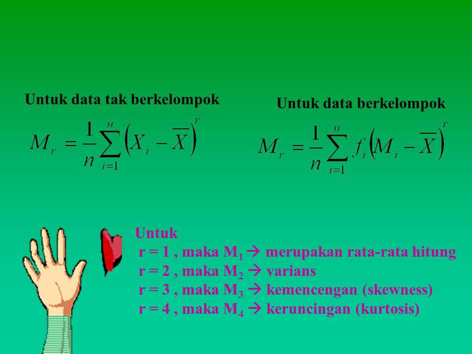 Untuk data tak berkelompok Untuk data berkelompok Untuk r = 1, maka M 1  merupakan rata-rata hitung r = 2, maka M 2  varians r = 3, maka M 3  kemen
