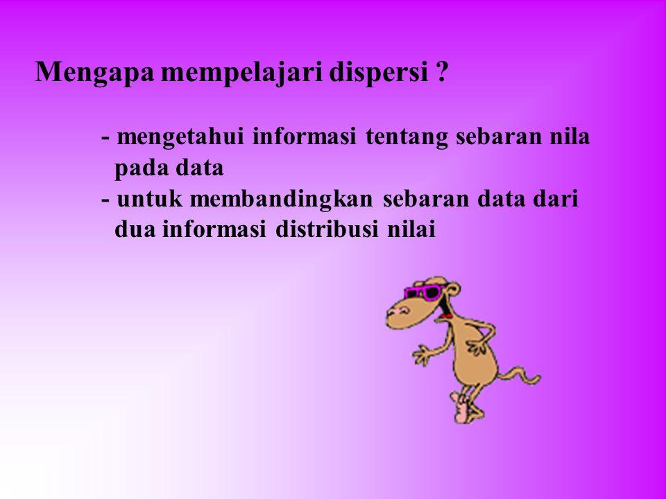 Mengapa mempelajari dispersi ? - mengetahui informasi tentang sebaran nila pada data - untuk membandingkan sebaran data dari dua informasi distribusi