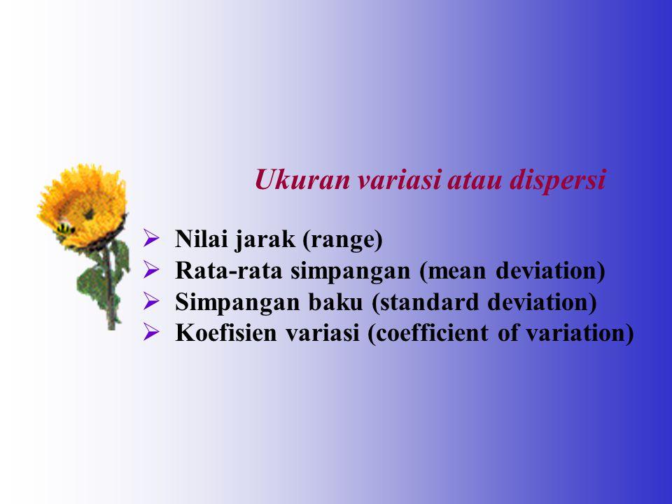 Ukuran variasi atau dispersi  Nilai jarak (range)  Rata-rata simpangan (mean deviation)  Simpangan baku (standard deviation)  Koefisien variasi (c
