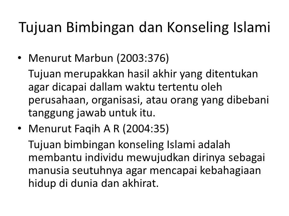 Tujuan Bimbingan dan Konseling Islami Menurut Marbun (2003:376) Tujuan merupakkan hasil akhir yang ditentukan agar dicapai dallam waktu tertentu oleh