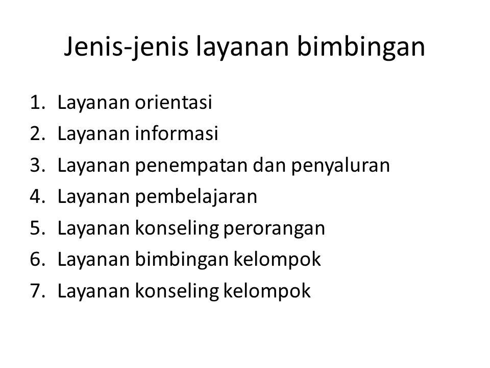 Jenis-jenis layanan bimbingan 1.Layanan orientasi 2.Layanan informasi 3.Layanan penempatan dan penyaluran 4.Layanan pembelajaran 5.Layanan konseling p