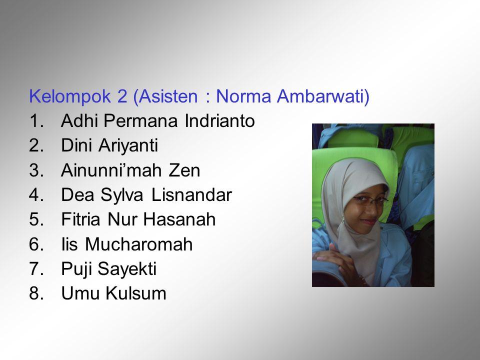 Kelompok 2 (Asisten : Norma Ambarwati) 1.Adhi Permana Indrianto 2.Dini Ariyanti 3.Ainunni'mah Zen 4.Dea Sylva Lisnandar 5.Fitria Nur Hasanah 6.Iis Muc