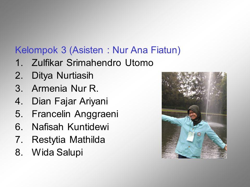 Kelompok 3 (Asisten : Nur Ana Fiatun) 1.Zulfikar Srimahendro Utomo 2.Ditya Nurtiasih 3.Armenia Nur R. 4.Dian Fajar Ariyani 5.Francelin Anggraeni 6.Naf