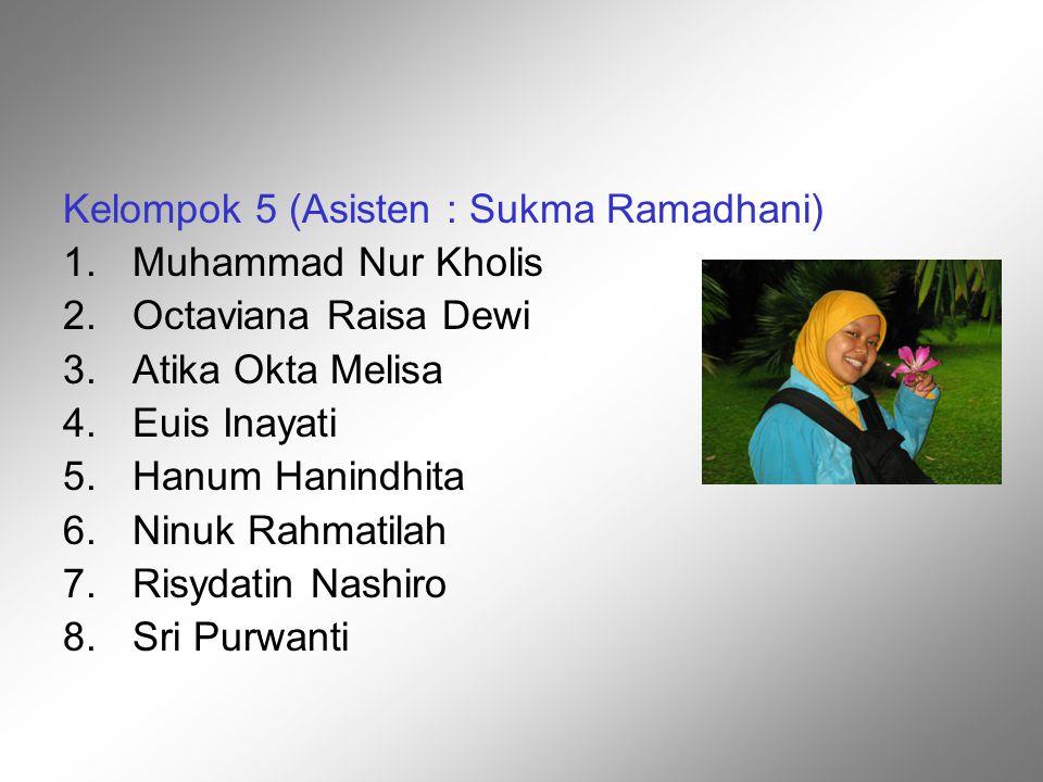 Kelompok 5 (Asisten : Sukma Ramadhani) 1.Muhammad Nur Kholis 2.Octaviana Raisa Dewi 3.Atika Okta Melisa 4.Euis Inayati 5.Hanum Hanindhita 6.Ninuk Rahm