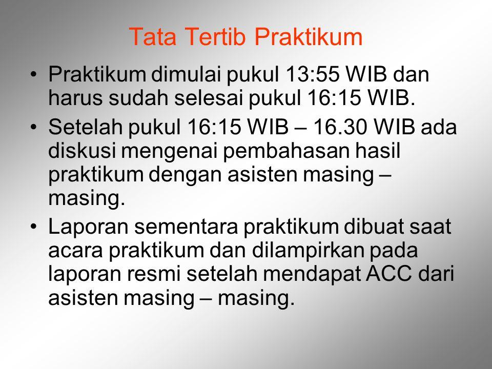 Tata Tertib Praktikum Praktikum dimulai pukul 13:55 WIB dan harus sudah selesai pukul 16:15 WIB. Setelah pukul 16:15 WIB – 16.30 WIB ada diskusi menge