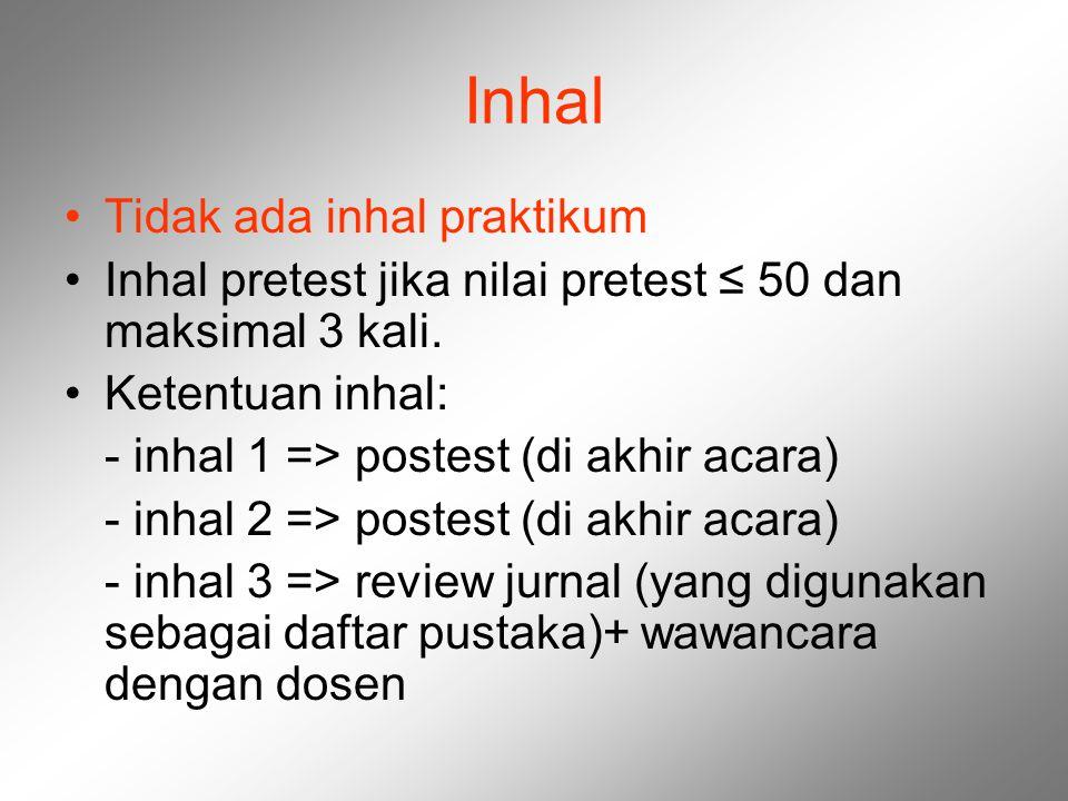 Inhal Tidak ada inhal praktikum Inhal pretest jika nilai pretest ≤ 50 dan maksimal 3 kali. Ketentuan inhal: - inhal 1 => postest (di akhir acara) - in
