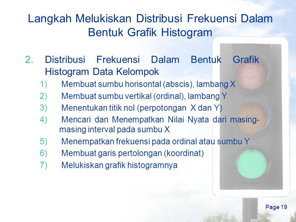 Page 18 Langkah Melukiskan Distribusi Frekuensi Dalam Bentuk Grafik Histogram 1.Distribusi Frekuensi Dalam Bentuk Grafik Histogram Data Tunggal 1) Mem