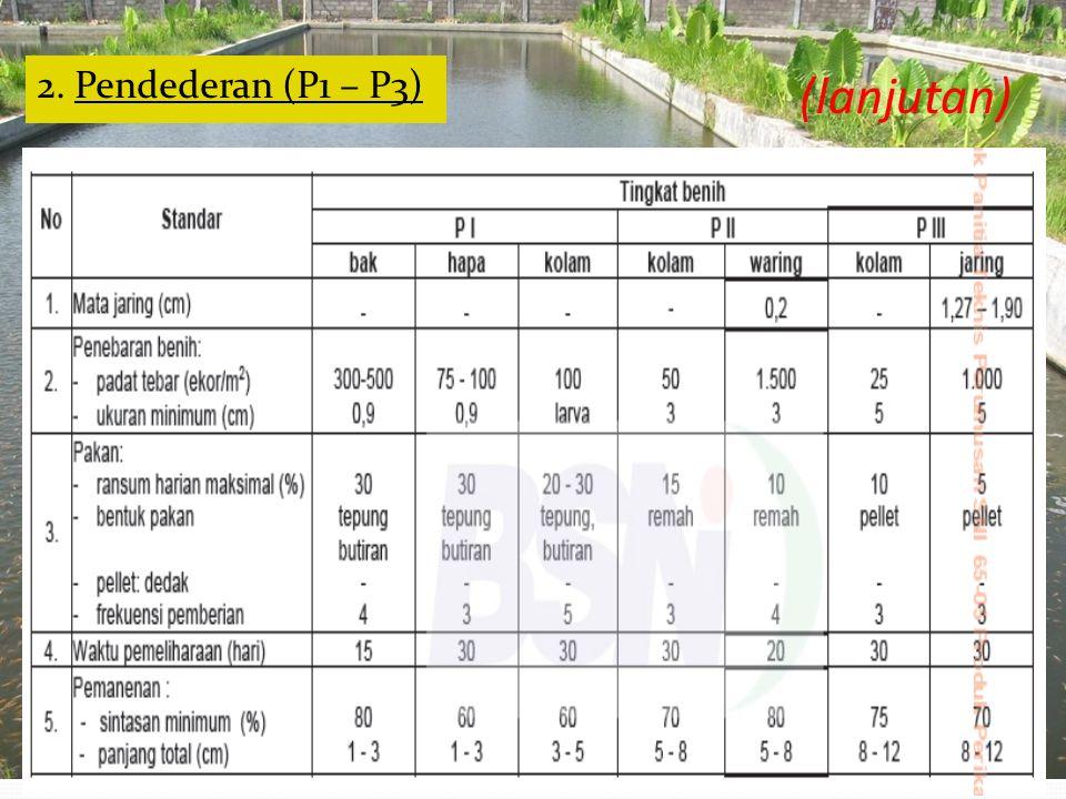 B. Pendederan (P1 – P3) 1. Persiapan Kolam a. Pengeringan - Waktu : 3 – 5 hari - Pastikan dasar kolam telah kering/retak-retak b. Pemupukan (P1) - Org