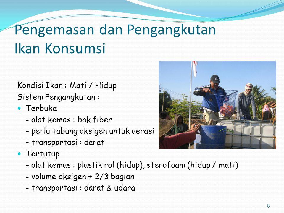 9 Kapasitas Pengangkutan Ikan Konsumsi Waktu kirim : pagi / sore / malam Waktu tempuh : < 6 jam (ikan hidup) Sistem terbuka - bak fiber : 3 kwintal Sistem tertutup Catatan : Untuk transportasi udara, air dapat ditetesi minyak cengkeh atau pada sterofoam diberi es untuk menenangkan ikan