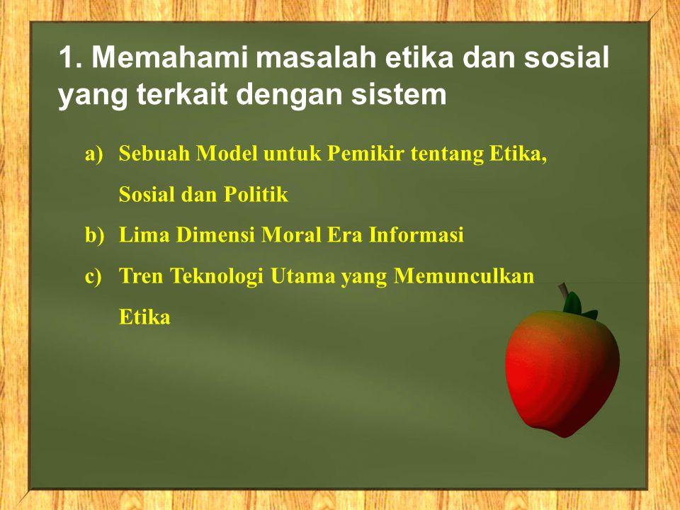 1. Memahami masalah etika dan sosial yang terkait dengan sistem a)Sebuah Model untuk Pemikir tentang Etika, Sosial dan Politik b)Lima Dimensi Moral Er
