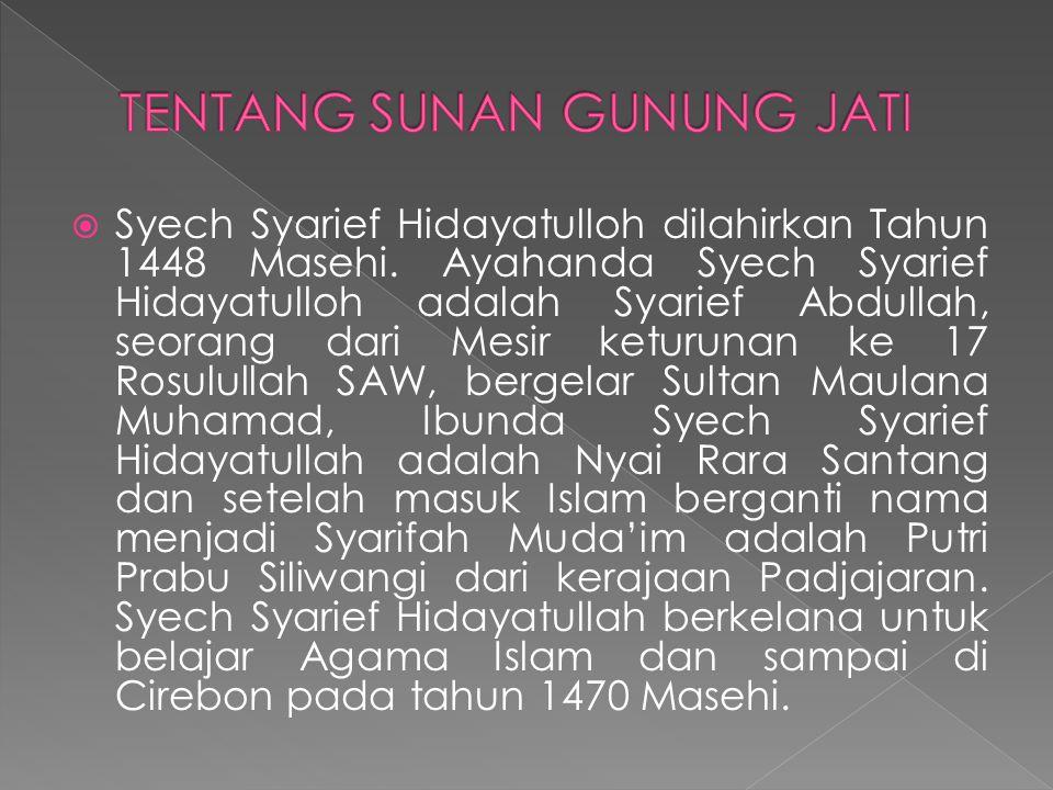  Syech Syarief Hidayatulloh dilahirkan Tahun 1448 Masehi. Ayahanda Syech Syarief Hidayatulloh adalah Syarief Abdullah, seorang dari Mesir keturunan k