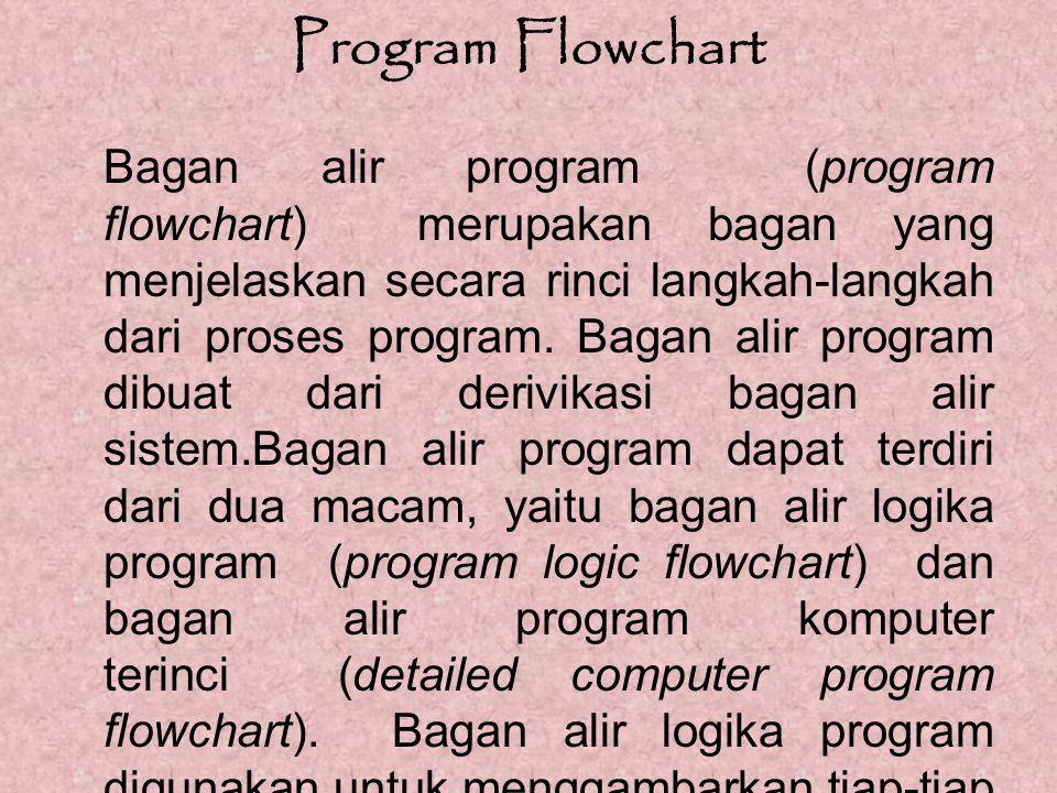Program Flowchart Bagan alir program (program flowchart) merupakan bagan yang menjelaskan secara rinci langkah-langkah dari proses program. Bagan alir
