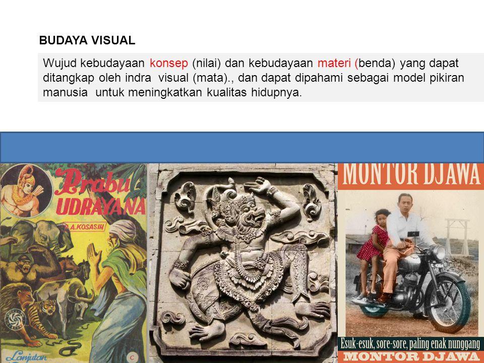 BUDAYA VISUAL Wujud kebudayaan konsep (nilai) dan kebudayaan materi (benda) yang dapat ditangkap oleh indra visual (mata)., dan dapat dipahami sebagai