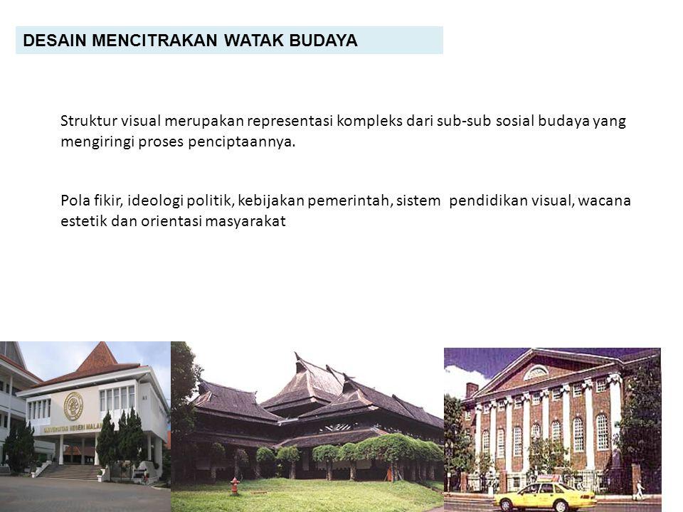 DESAIN MENCITRAKAN HEGEMONI KEBUDAYAAN Budaya yang lebih kuat menguasai yang lebih lemah Desain merupakan kekuasaan budaya Prinsip pembenaran dan kelayakan diukur dari satu sudut pandang kebudayaan Kebudayaan barat mendominasi kebudayaan di Indonesia