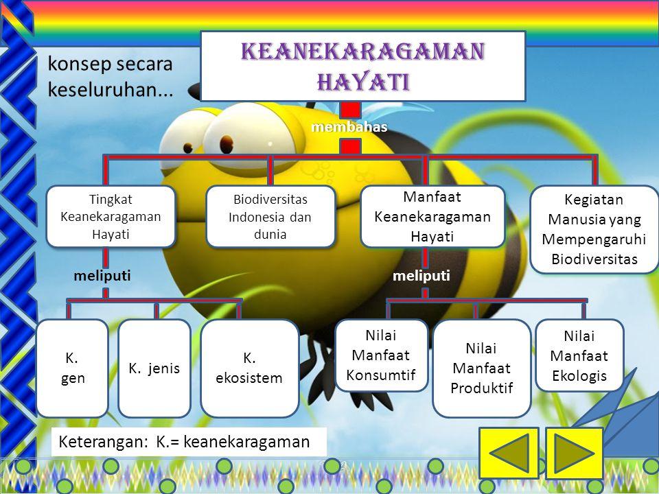 2 membahas membahas Tingkat Keanekaragaman Hayati Tingkat Keanekaragaman Hayati Biodiversitas Indonesia dan dunia Manfaat Keanekaragaman Hayati Kegiatan Manusia yang Mempengaruhi Biodiversitas meliputi K.