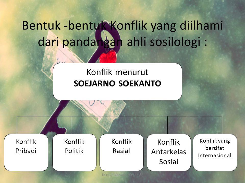 Bentuk -bentuk Konflik yang diilhami dari pandangan ahli sosilologi : Konflik menurut SOEJARNO SOEKANTO Konflik Pribadi Konflik Politik Konflik yang b