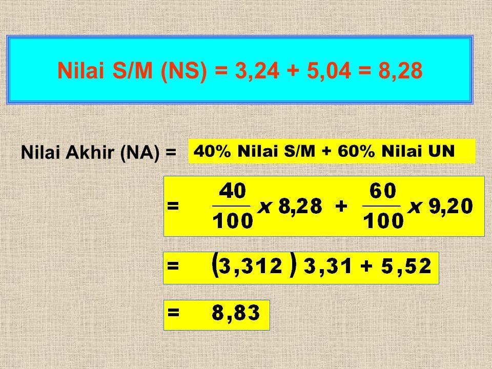 Nilai Akhir (NA) = Nilai S/M (NS) = 3,24 + 5,04 = 8,28 40% Nilai S/M + 60% Nilai UN