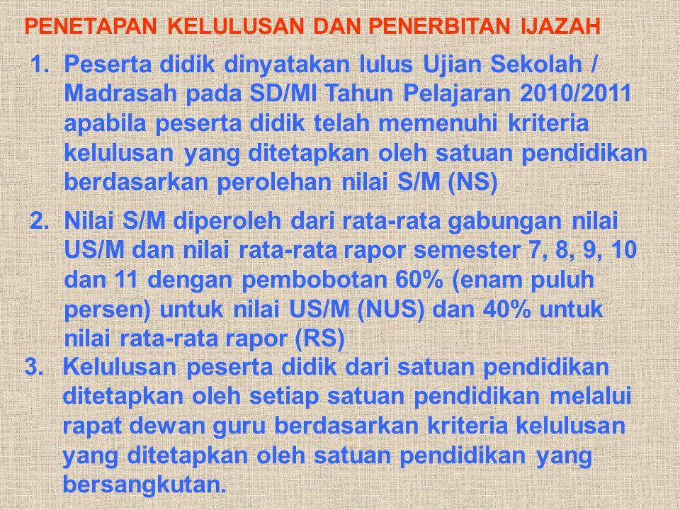 PENETAPAN KELULUSAN DAN PENERBITAN IJAZAH 1.Peserta didik dinyatakan lulus Ujian Sekolah / Madrasah pada SD/MI Tahun Pelajaran 2010/2011 apabila peser