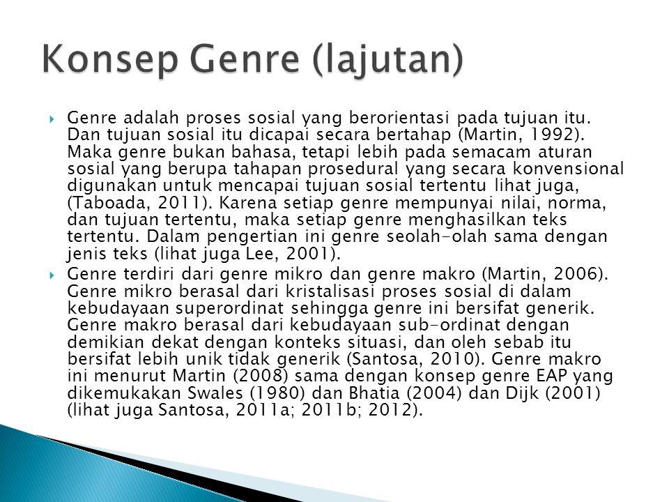  Genre adalah proses sosial yang berorientasi pada tujuan itu. Dan tujuan sosial itu dicapai secara bertahap (Martin, 1992). Maka genre bukan bahasa,