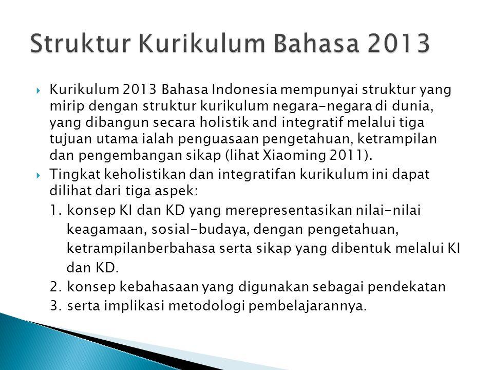  Kurikulum 2013 Bahasa Indonesia mempunyai struktur yang mirip dengan struktur kurikulum negara-negara di dunia, yang dibangun secara holistik and in