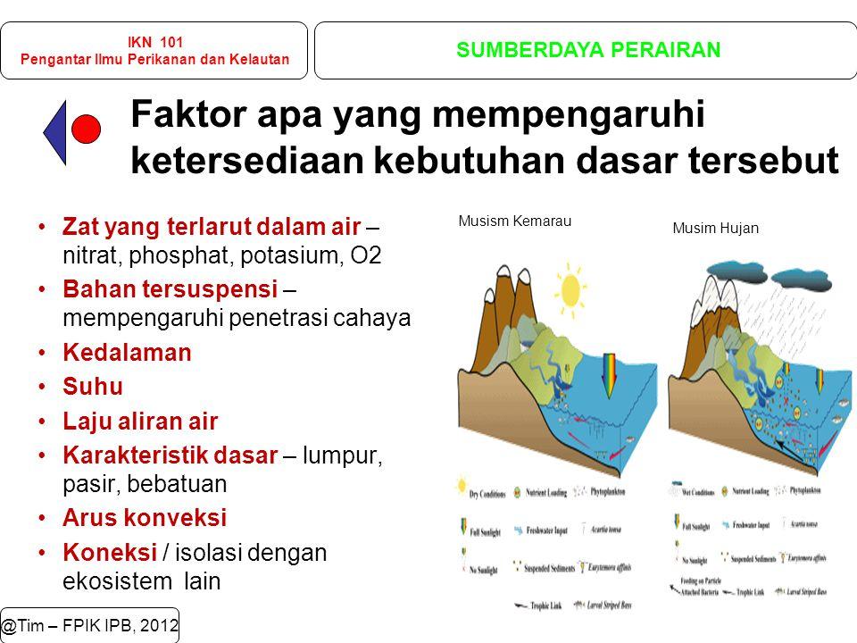 Faktor apa yang mempengaruhi ketersediaan kebutuhan dasar tersebut @Tim – FPIK IPB, 2012 Zat yang terlarut dalam air – nitrat, phosphat, potasium, O2 Bahan tersuspensi – mempengaruhi penetrasi cahaya Kedalaman Suhu Laju aliran air Karakteristik dasar – lumpur, pasir, bebatuan Arus konveksi Koneksi / isolasi dengan ekosistem lain Musism Kemarau Musim Hujan IKN 101 Pengantar Ilmu Perikanan dan Kelautan SUMBERDAYA PERAIRAN