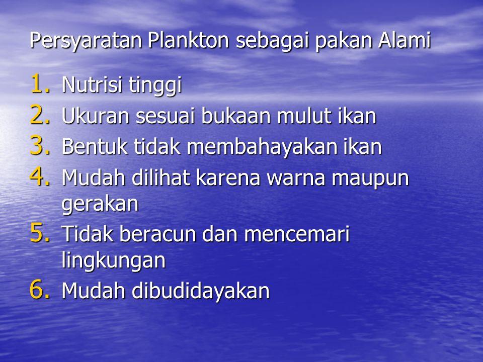 Persyaratan Plankton sebagai pakan Alami 1.Nutrisi tinggi 2.