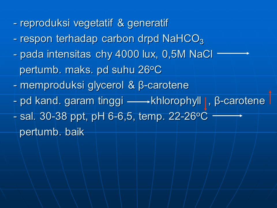 - reproduksi vegetatif & generatif - respon terhadap carbon drpd NaHCO 3 - pada intensitas chy 4000 lux, 0,5M NaCl pertumb.