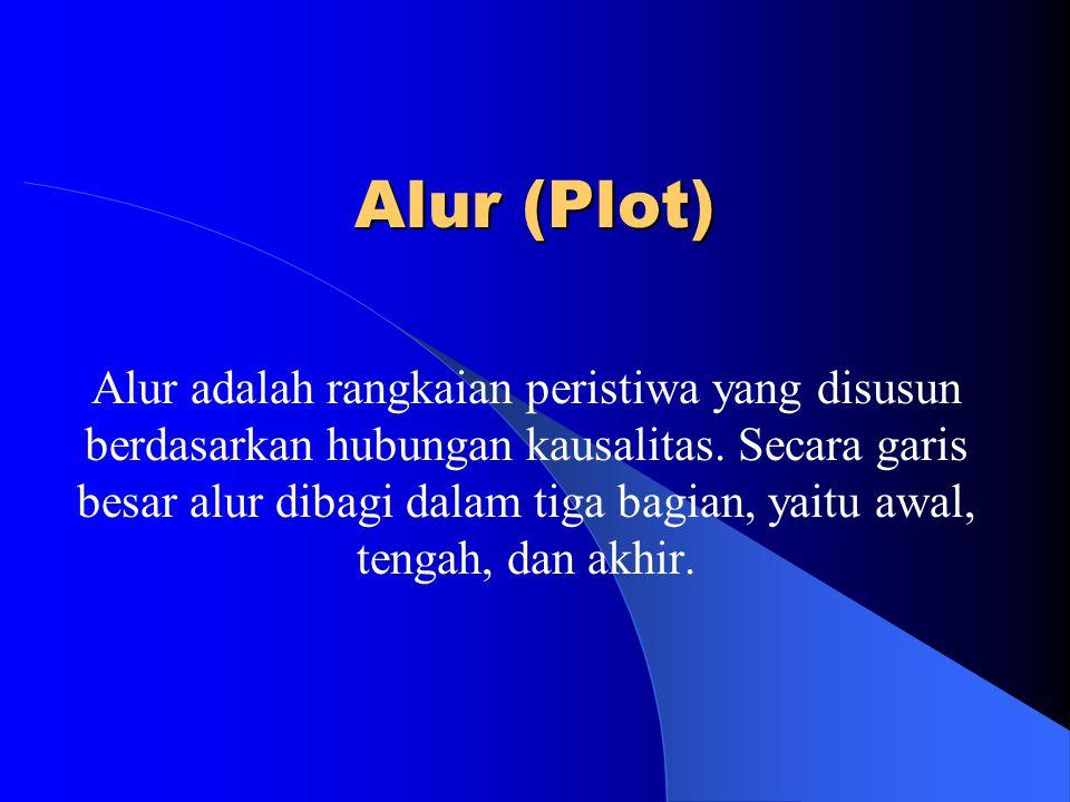 Alur (Plot) Alur adalah rangkaian peristiwa yang disusun berdasarkan hubungan kausalitas. Secara garis besar alur dibagi dalam tiga bagian, yaitu awal