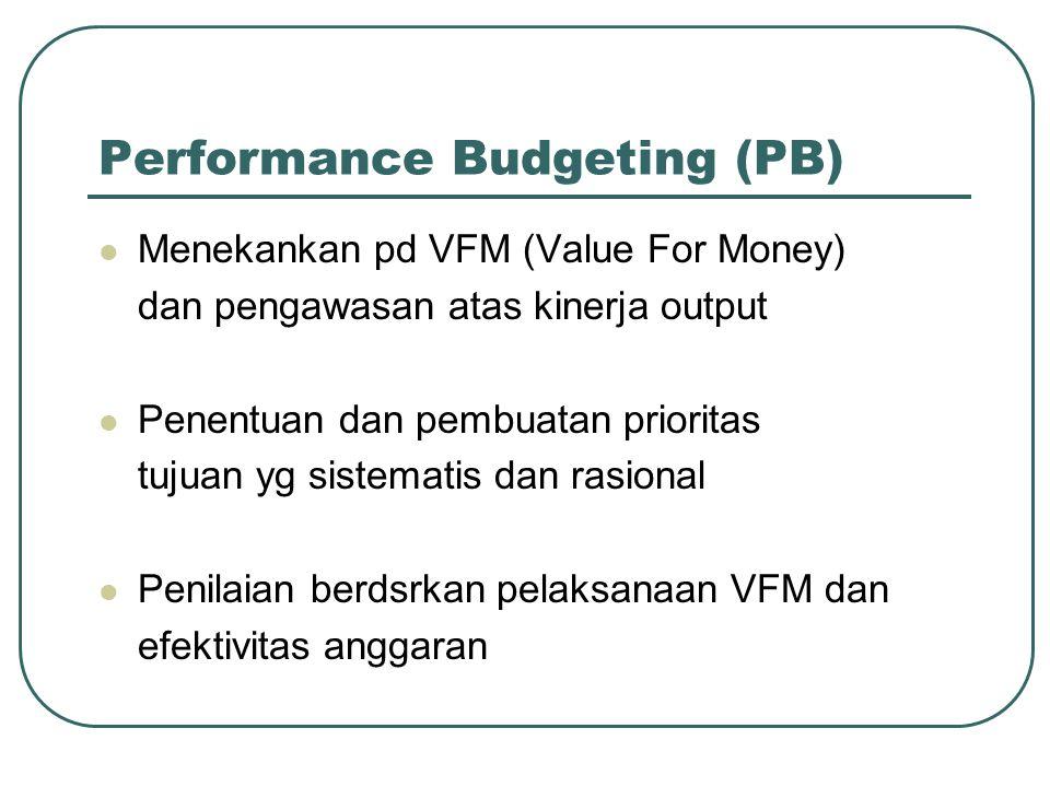 Performance Budgeting (PB) Menekankan pd VFM (Value For Money) dan pengawasan atas kinerja output Penentuan dan pembuatan prioritas tujuan yg sistemat