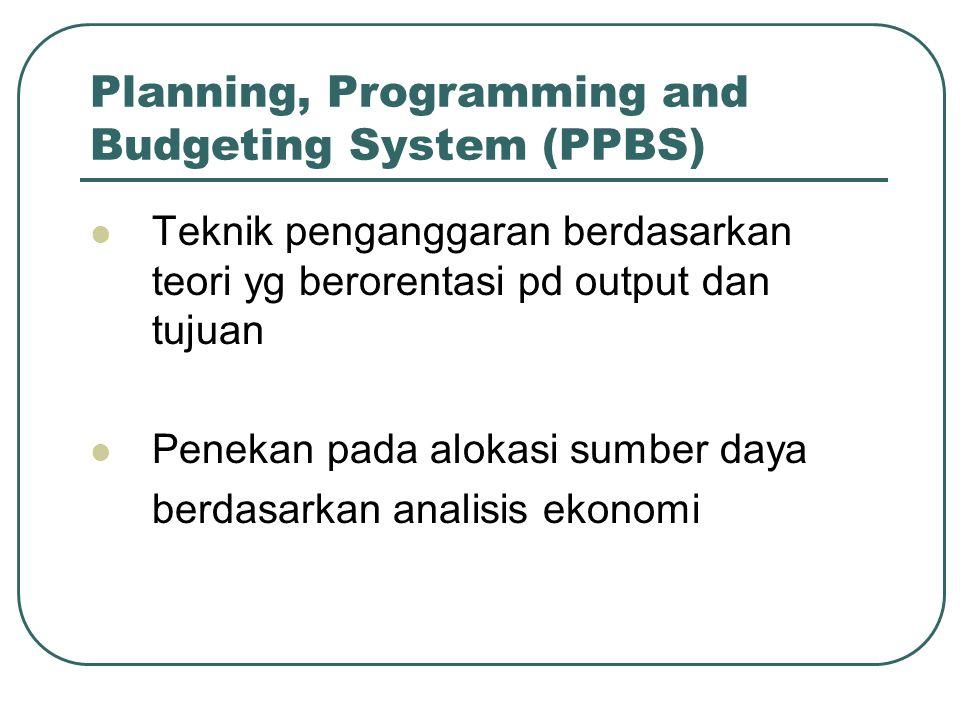Planning, Programming and Budgeting System (PPBS) Teknik penganggaran berdasarkan teori yg berorentasi pd output dan tujuan Penekan pada alokasi sumbe