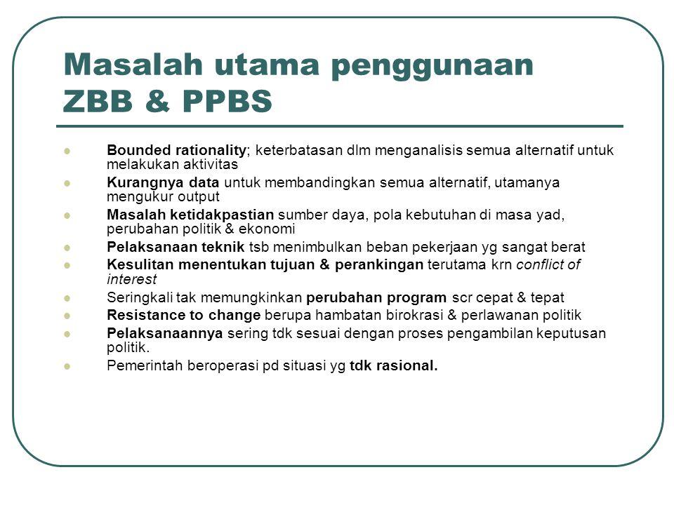 Masalah utama penggunaan ZBB & PPBS Bounded rationality; keterbatasan dlm menganalisis semua alternatif untuk melakukan aktivitas Kurangnya data untuk