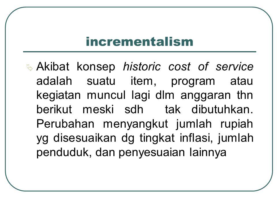 incrementalism  Akibat konsep historic cost of service adalah suatu item, program atau kegiatan muncul lagi dlm anggaran thn berikut meski sdh tak di