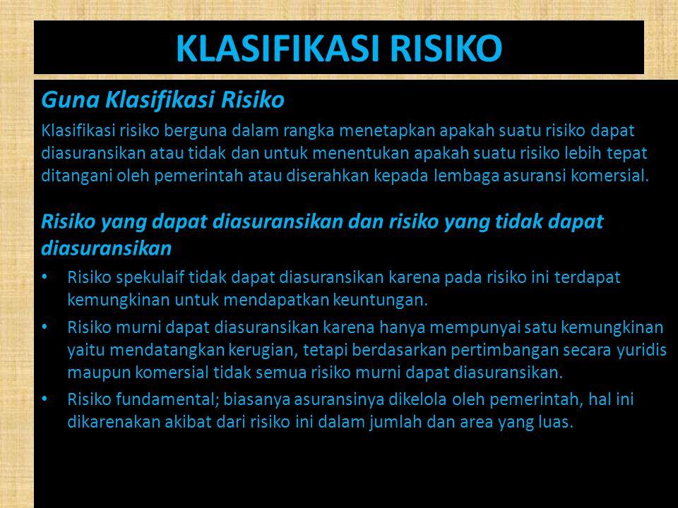 KLASIFIKASI RISIKO Guna Klasifikasi Risiko Klasifikasi risiko berguna dalam rangka menetapkan apakah suatu risiko dapat diasuransikan atau tidak dan u