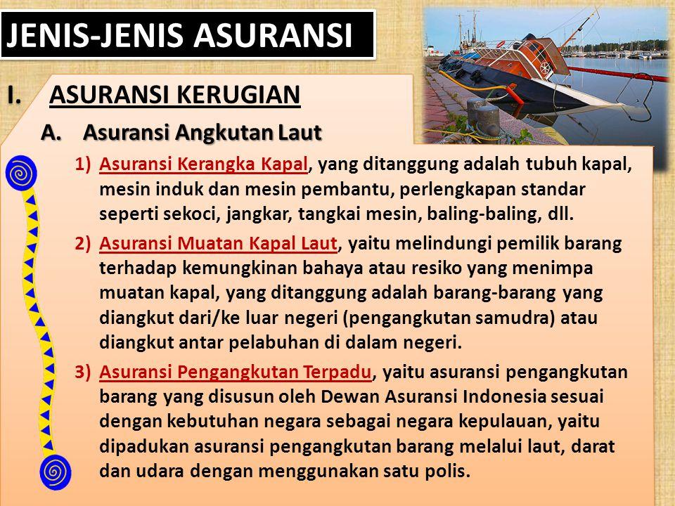 JENIS-JENIS ASURANSI I.ASURANSI KERUGIAN A.Asuransi Angkutan Laut 1)Asuransi Kerangka Kapal, yang ditanggung adalah tubuh kapal, mesin induk dan mesin