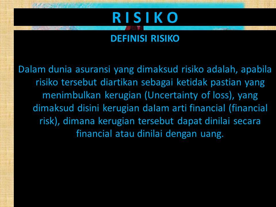 R I S I K O DEFINISI RISIKO Dalam dunia asuransi yang dimaksud risiko adalah, apabila risiko tersebut diartikan sebagai ketidak pastian yang menimbulk