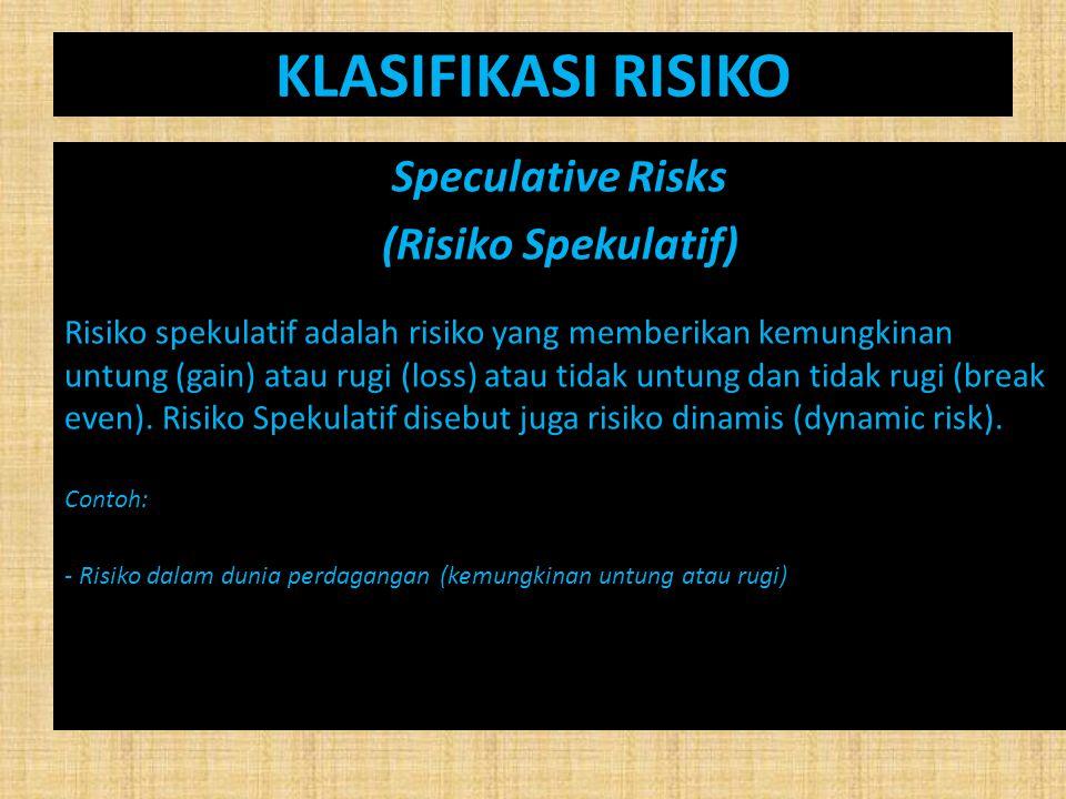 KLASIFIKASI RISIKO Speculative Risks (Risiko Spekulatif) Risiko spekulatif adalah risiko yang memberikan kemungkinan untung (gain) atau rugi (loss) at