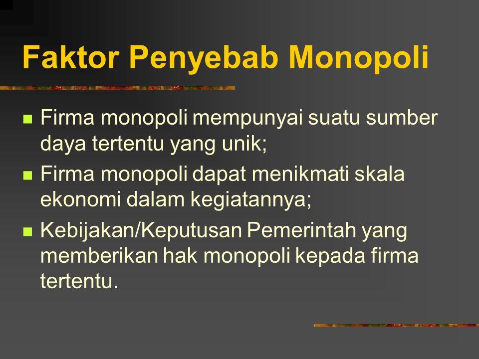 Faktor Penyebab Monopoli Firma monopoli mempunyai suatu sumber daya tertentu yang unik; Firma monopoli dapat menikmati skala ekonomi dalam kegiatannya