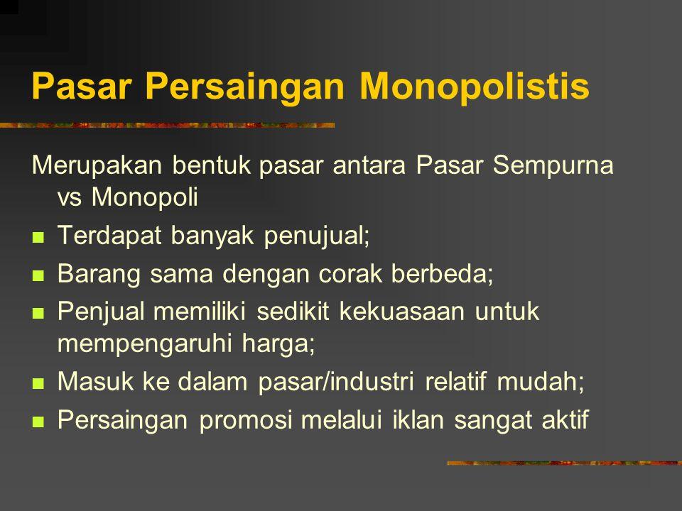 Pasar Persaingan Monopolistis Merupakan bentuk pasar antara Pasar Sempurna vs Monopoli Terdapat banyak penujual; Barang sama dengan corak berbeda; Pen