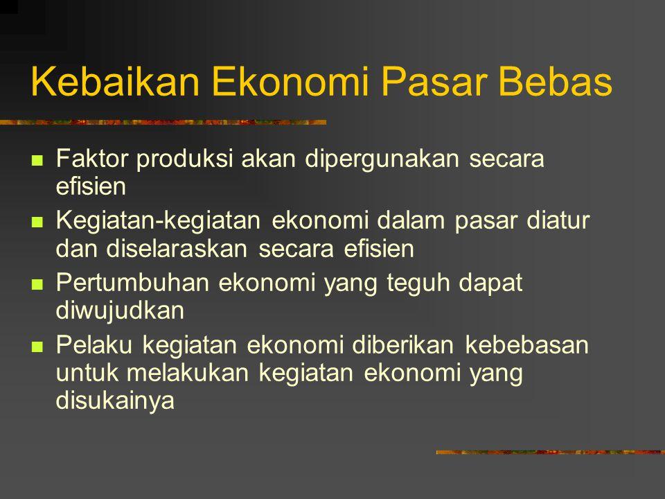Kebaikan Ekonomi Pasar Bebas Faktor produksi akan dipergunakan secara efisien Kegiatan-kegiatan ekonomi dalam pasar diatur dan diselaraskan secara efi