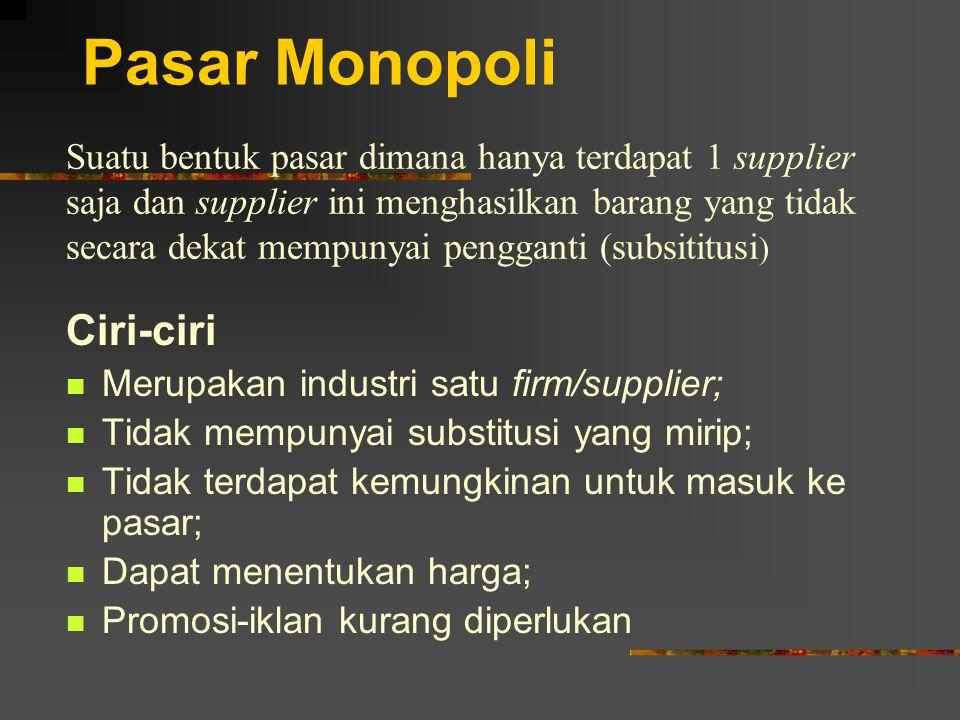 Pasar Monopoli Ciri-ciri Merupakan industri satu firm/supplier; Tidak mempunyai substitusi yang mirip; Tidak terdapat kemungkinan untuk masuk ke pasar