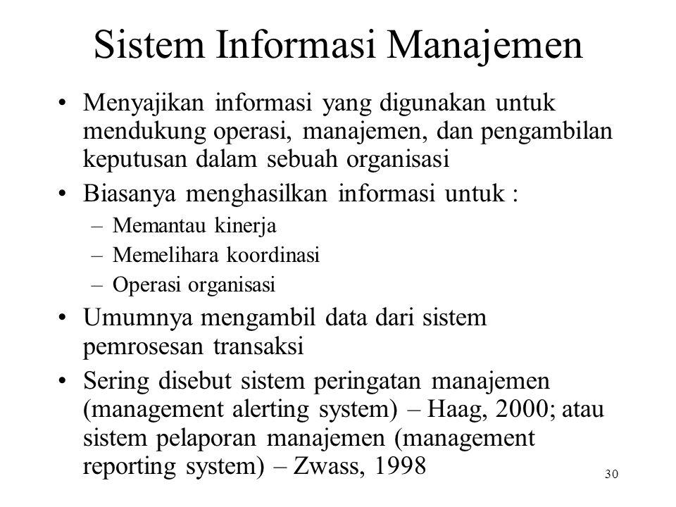 30 Sistem Informasi Manajemen Menyajikan informasi yang digunakan untuk mendukung operasi, manajemen, dan pengambilan keputusan dalam sebuah organisas