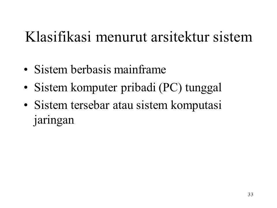 33 Klasifikasi menurut arsitektur sistem Sistem berbasis mainframe Sistem komputer pribadi (PC) tunggal Sistem tersebar atau sistem komputasi jaringan
