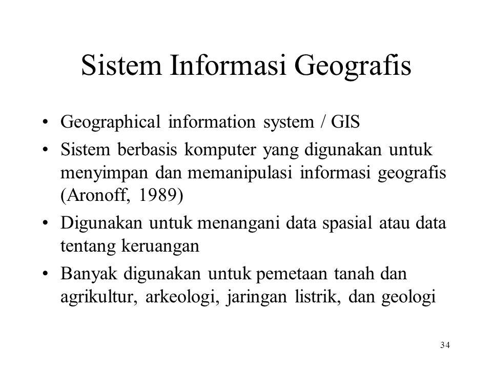 34 Sistem Informasi Geografis Geographical information system / GIS Sistem berbasis komputer yang digunakan untuk menyimpan dan memanipulasi informasi