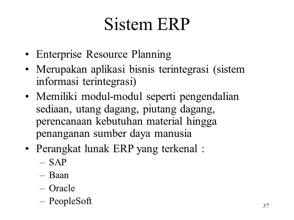 37 Sistem ERP Enterprise Resource Planning Merupakan aplikasi bisnis terintegrasi (sistem informasi terintegrasi) Memiliki modul-modul seperti pengend