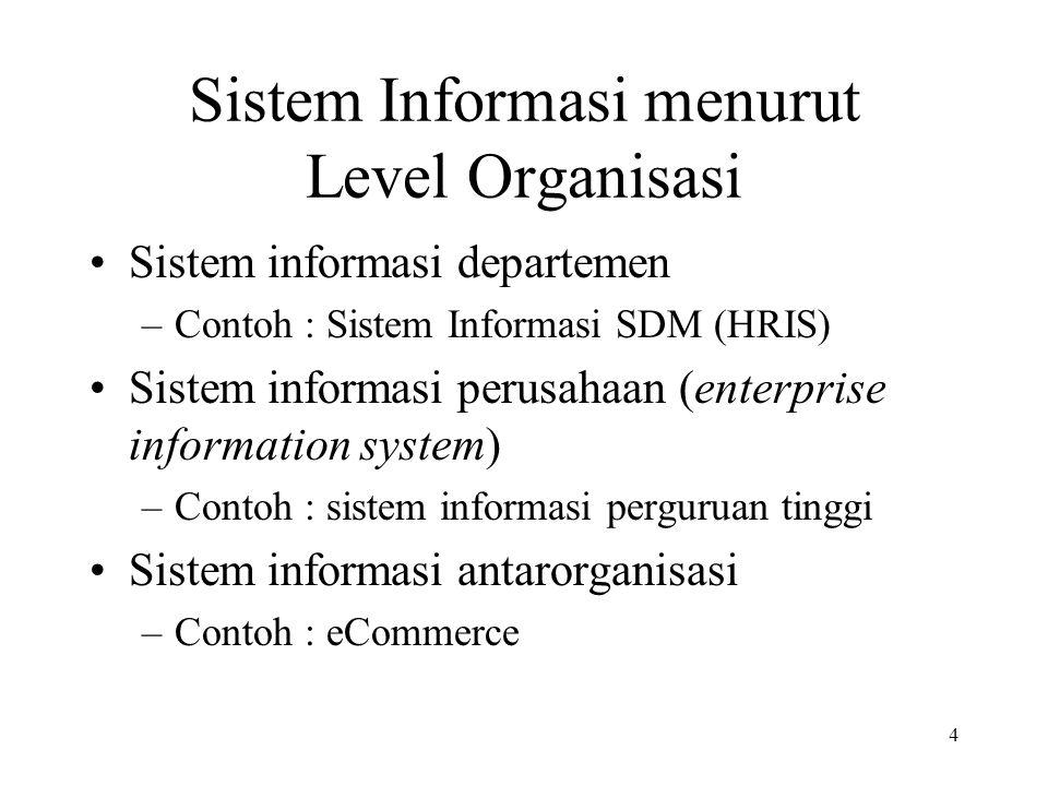 4 Sistem Informasi menurut Level Organisasi Sistem informasi departemen –Contoh : Sistem Informasi SDM (HRIS) Sistem informasi perusahaan (enterprise