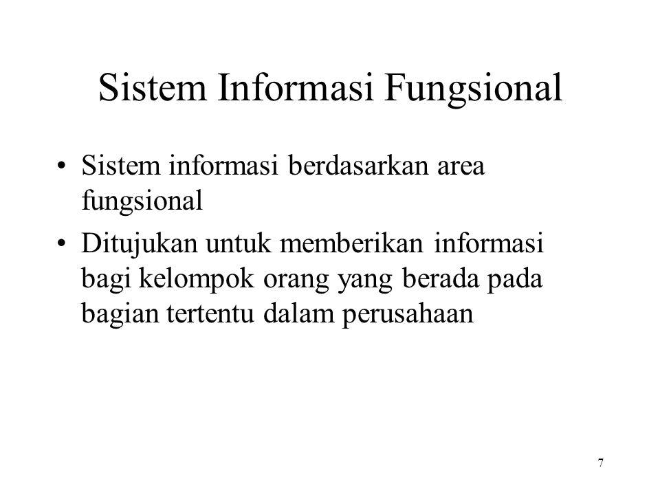 7 Sistem Informasi Fungsional Sistem informasi berdasarkan area fungsional Ditujukan untuk memberikan informasi bagi kelompok orang yang berada pada b
