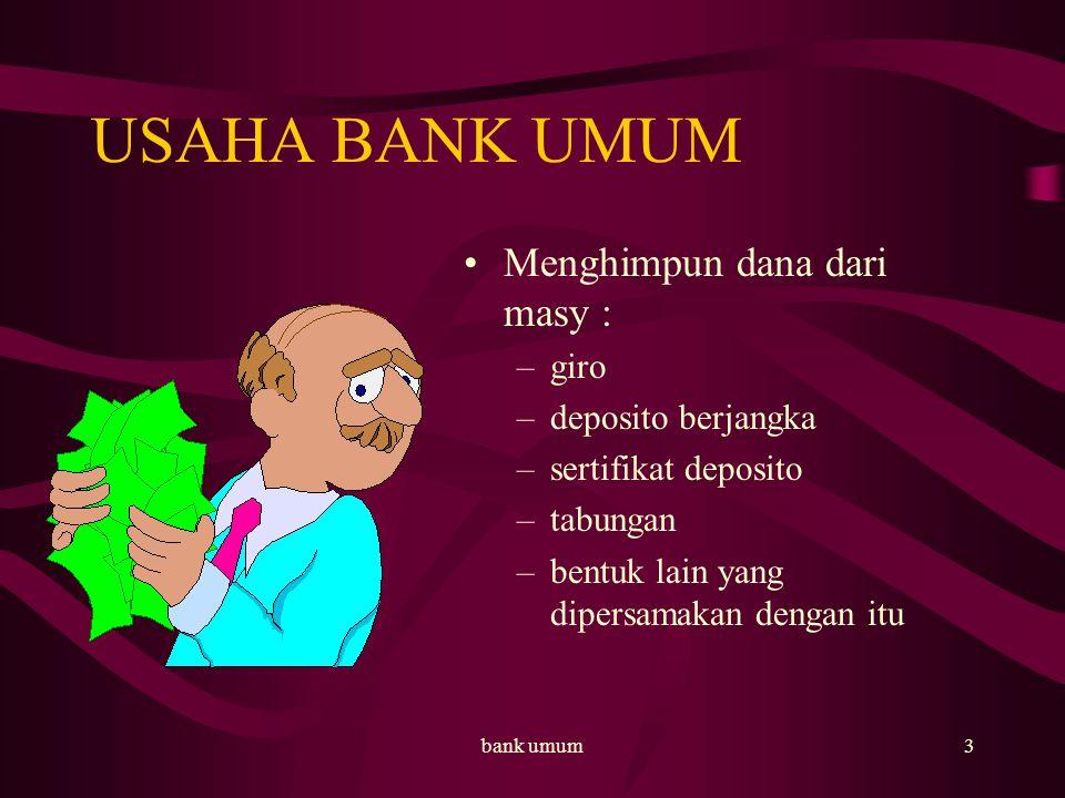 bank umum4 Usaha bank umum Memberikan kredit membeli, menjual dan menjamin atas resiko sendiri atau atas perintah nasabah –surat-surat wesel –surat pengakuan hutang atau kertas dagang –kertas perbendaharaan negara dan surat jaminan pemerintah –sertifikat bank indonesia –obligasi –surat dagang (jk waktu1 th) –instrumen surat berharga lain (jk wkt 1 th)