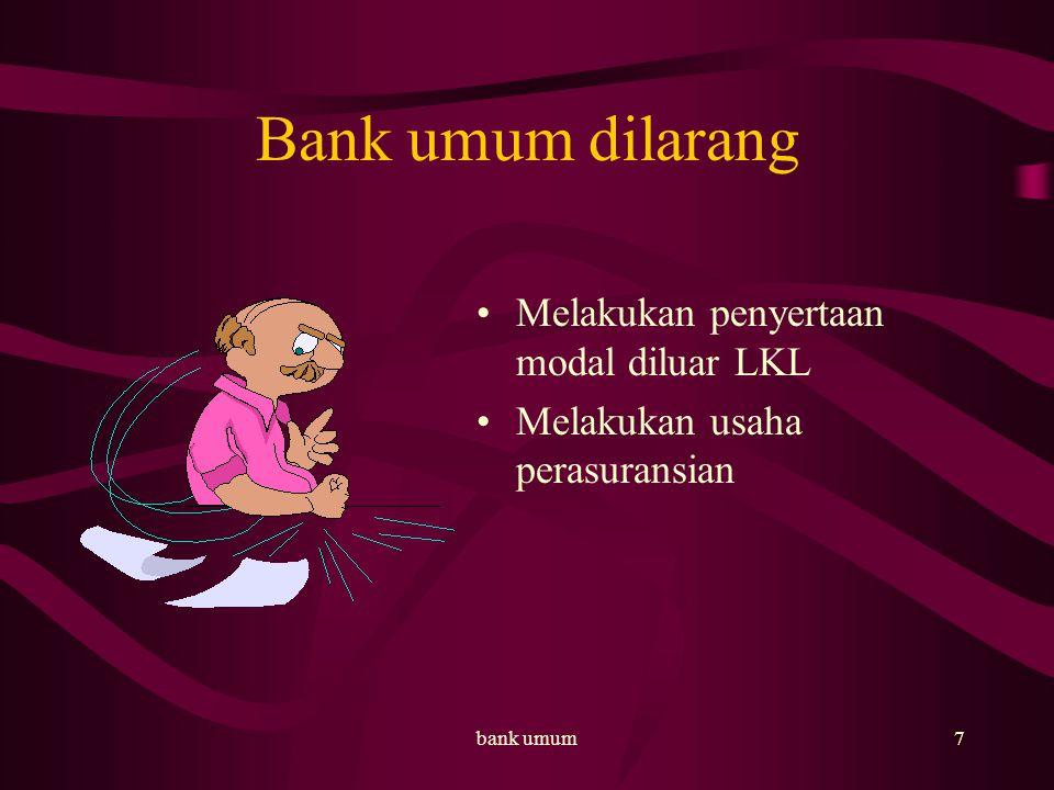 bank umum8 Usaha BPR Menghimpun dana dari masy Memberi kredit – tabungan – deposito berjangka – bentuk lain yang dipersamakan Pembiayaan dan penempatan dana berdasarkan prinsip syariah Menempatkan dana dalam SBI, Deposito berjangka, sertifikat deposito, tabungan pada bank lain