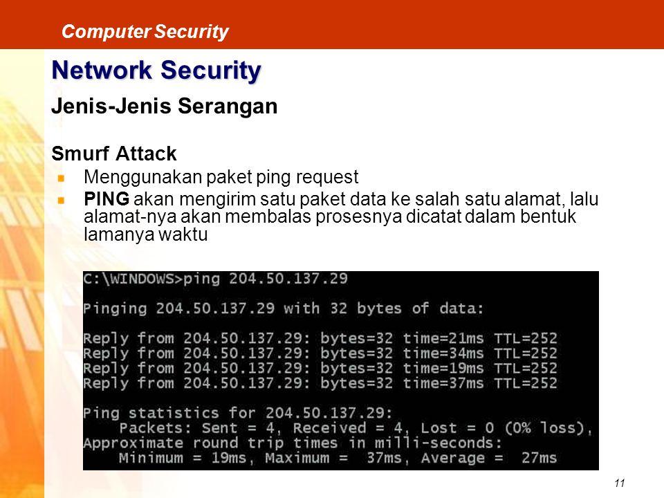 11 Computer Security Network Security Jenis-Jenis Serangan Smurf Attack Menggunakan paket ping request PING akan mengirim satu paket data ke salah sat